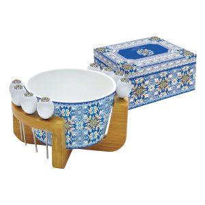 Набор для закуски: салатник для оливок + 8 шпажек на подставке Майолика (голубая)