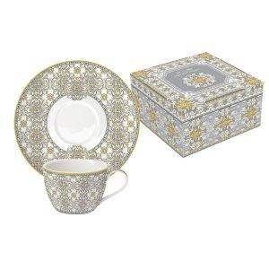 Набор: 2 чашки + 2 блюдца для кофе Майолика (серая)