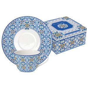 Набор: 2 чашки + 2 блюдца Майолика (голубая)