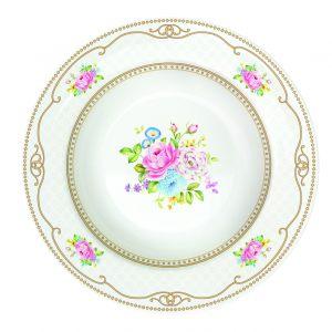 Суповая тарелка Bouquet pink WHITE 21,5 см