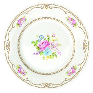 Набор из 4х десертных тарелок Bouquet pink  WHITE 19 см
