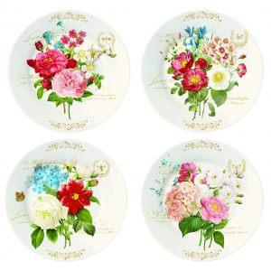 Набор из четырех тарелок Букет цветов