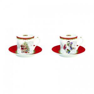Набор: 2 кофейные чашки и блюдца  Christmas time 75 мл (первый)