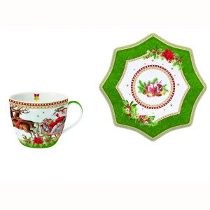 Чайная пара Vintage christmas зеленая 250 мл