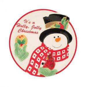 """Тарелка для печенья """"Снеговик в лесу""""  25 см"""