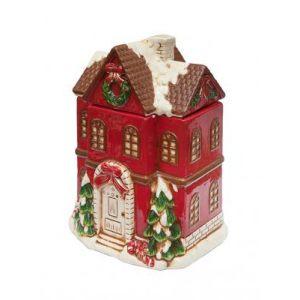 """Банка для печенья """"Дом перед Рождеством"""" красный"""