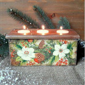 Подсвечник-короб Зимние цветы