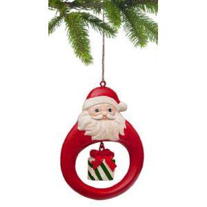 "Елочная игрушка ""Санта с подарком"""