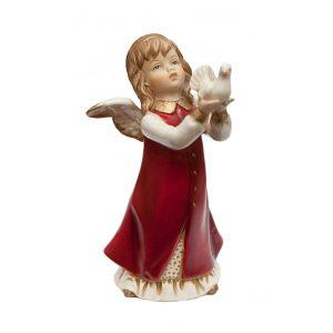Ангел с голубем (красн) 17,5 см