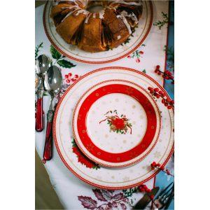 Дорожка на стол Морозник в красном