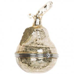 Елочная игрушка  Груша состаренное золото открывающяяся