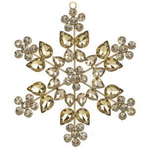 Елочная игрушка Снежинка с золотыми кристаллами
